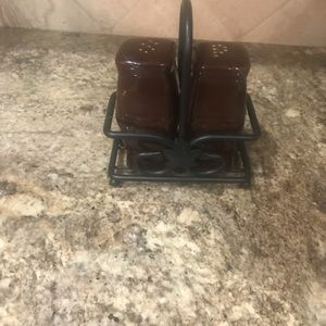 Longaberger  chocolate salt & pepper w/iron holder